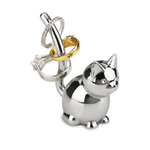 Sparking Silver Looking Cat Ring Holder