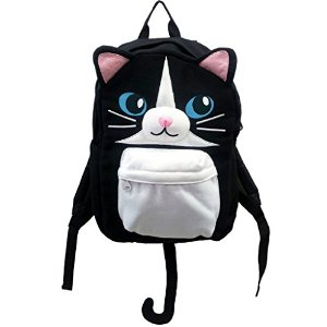 Black Cat Backpack With Detachable Tail