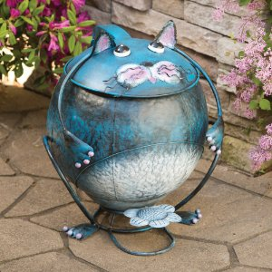 Blue Cat Shaped Metal Trash Can With Lid