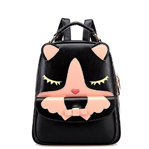 Kitty Leather Shoulder Backpack Purse For Girls