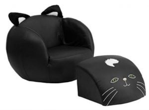 Black Kitty Cat Chair With Footstool For Toddlers