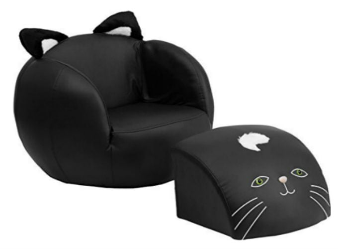 Black Kitty Cat Chair With Footstool